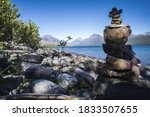 Rock Cairn On The Bank Of Lake...