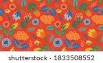 folk floral seamless pattern.... | Shutterstock .eps vector #1833508552