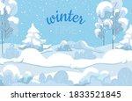 winter snow landscape.... | Shutterstock .eps vector #1833521845