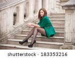portrait of a young woman on... | Shutterstock . vector #183353216