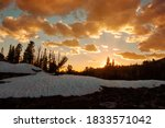 Sunset Over Snowy Mountain In...