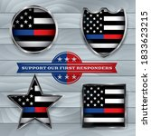 police and firefighter american ... | Shutterstock .eps vector #1833623215