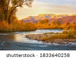 Small photo of Autumn morning along the Provo River, Midway, Utah, USA.
