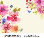 watercolor card with beautiful... | Shutterstock . vector #183369212
