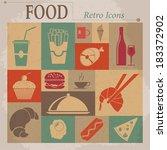 food flat vector retro icons | Shutterstock .eps vector #183372902