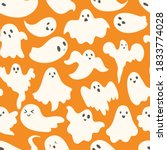 doodle cute ghosts haloween... | Shutterstock .eps vector #1833774028