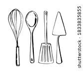 kitchen tools. whisk  spoon ...   Shutterstock .eps vector #1833835855