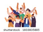 group of happy people standing... | Shutterstock .eps vector #1833835885