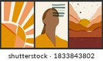 a set of three aesthetic...   Shutterstock .eps vector #1833843802