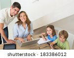 high angle portrait of children ... | Shutterstock . vector #183386012
