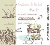 art,background,bed,botanical,bush,card,cart,design,do,engraving,equipment,flower,flowerpot,garden,gardener