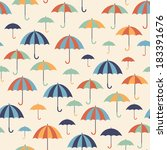 seamless pattern with umbrellas.... | Shutterstock .eps vector #183391676