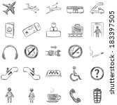 vector set of sketch airport... | Shutterstock .eps vector #183397505