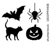 halloween scary icons isolated...