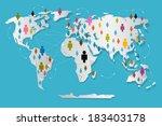 vector people on paper world... | Shutterstock .eps vector #183403178