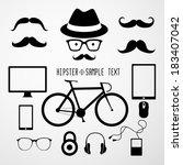 hipster faces   illustration | Shutterstock .eps vector #183407042
