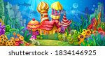 a fantastic underwater town for ... | Shutterstock .eps vector #1834146925