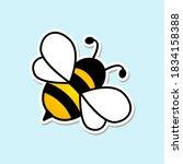 cute bee flat icon. sticker...   Shutterstock .eps vector #1834158388