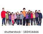 group of children holding hands ... | Shutterstock . vector #183416666