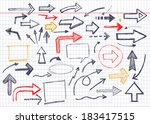 vector hand drawn arrows icons... | Shutterstock .eps vector #183417515