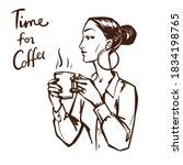pretty woman drinks coffee.... | Shutterstock .eps vector #1834198765