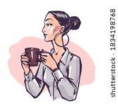 pretty elegant woman drinks... | Shutterstock .eps vector #1834198768