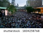Small photo of Thais Pro-democracy protesters gather at Ratchaprasong Intersection demanding the government to resign and to release detained leaders in Bangkok, Thailand October 15, 2020.
