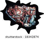 colorful vector swirly graffiti ... | Shutterstock .eps vector #18342874