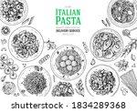 italian pasta frame. hand drawn ... | Shutterstock .eps vector #1834289368