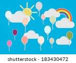 colorful mini balloon with blue ... | Shutterstock .eps vector #183430472
