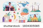collection of ecology... | Shutterstock .eps vector #1834305085