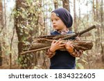 A Child Collects Firewood In...