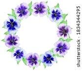 Watercolor Flowers Wreath Of...