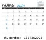 calendar 2021 year. february... | Shutterstock .eps vector #1834362028