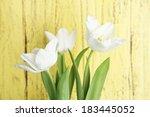 beautiful tulips on wooden...   Shutterstock . vector #183445052