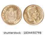 napoleon gold coin on white...   Shutterstock . vector #1834450798