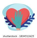 hand of surgeon wearing glove...   Shutterstock .eps vector #1834512625