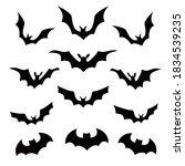variety of halloween bats in... | Shutterstock .eps vector #1834539235