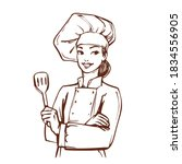 woman dressed as a chef. pretty ... | Shutterstock .eps vector #1834556905