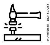 Nail Hammering Line Icon Vector....
