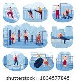 outdoor sport gym vector... | Shutterstock .eps vector #1834577845