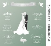 wedding vintage invitation... | Shutterstock .eps vector #183460142