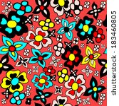 vector seamless flower pattern | Shutterstock .eps vector #183460805