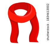 isolated  red scarf in flat... | Shutterstock .eps vector #1834613002