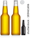 Clear glass beer bottle 330 ml - vector visual, ideal for beer, lager, fruit juice, soft drinks, soda etc. With and without lid, plus silhouette. Drawn with mesh tool. Fully adjustable & scalable.