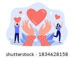hands holding heart symbol flat ... | Shutterstock .eps vector #1834628158