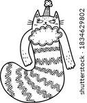 Cute Cartoon Cat In A Christmas ...