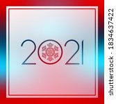 2021 new year red and blue... | Shutterstock .eps vector #1834637422
