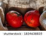 Red Pumpkin In A Wooden Box On...