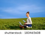 smiling business woman with... | Shutterstock . vector #183465608